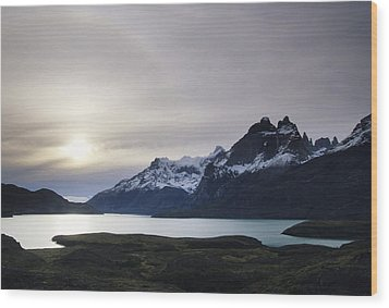 Sunset At Lago Pehoe  In The Cuenos Del Wood Print by Bill Hatcher