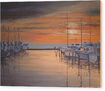 Sunset At Marina Wood Print