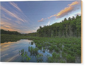Wood Print featuring the photograph Sunset At Mass Audubon's Broadmoor Wildlife Sanctuary by Juergen Roth