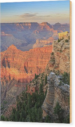 Sunset At Mather Point Wood Print