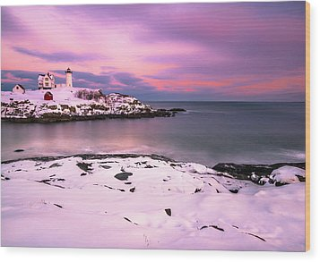 Sunset At Nubble Lighthouse In Maine In Winter Snow Wood Print