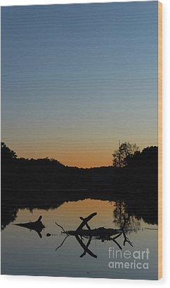 Sunset At Paulinskill Lake Wood Print by Nicki McManus