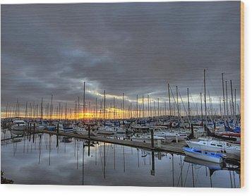Sunset At Port Gardner Wood Print