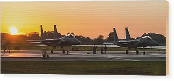 Sunset At Raf Lakenheath Wood Print