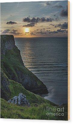 Sunset At Rhossili Bay Wood Print