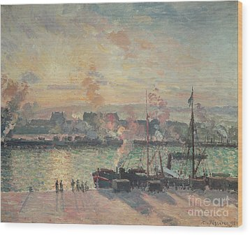 Sunset At Rouen Wood Print by Camille Pissarro