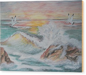 Wood Print featuring the painting Sunset At Sea by Carol Grimes