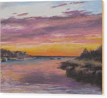 Sunset At Sesuit Harbor Wood Print