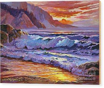 Sunset At Shipwreck Beach Wood Print by David Lloyd Glover
