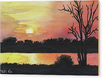 Wood Print featuring the painting Sunset At Shire River In Malawi by Dora Hathazi Mendes