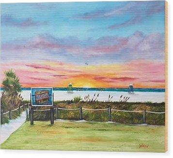 Sunset At Siesta Key Public Beach Wood Print