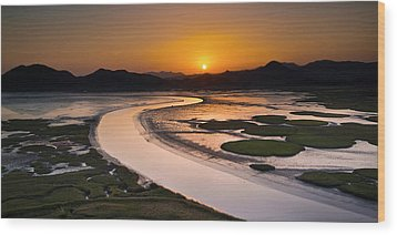 Sunset At Suncheon Bay Wood Print