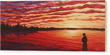 Sunset At The Bay Wood Print by Douglas Keil
