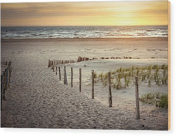 Wood Print featuring the photograph Sunset At The Beach by Hannes Cmarits
