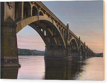 Sunset At The Columbia - Wrightsville Bridge Wood Print