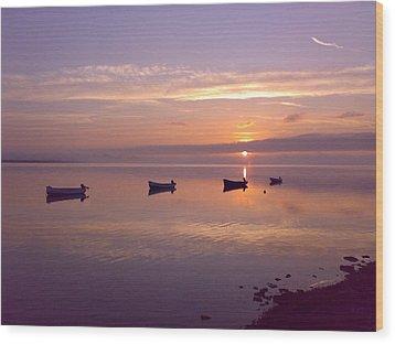 Sunset At The Estuary Wood Print by Martina Fagan