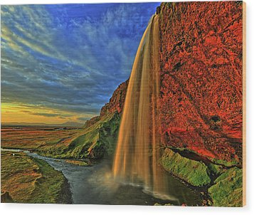 Wood Print featuring the photograph Sunset At The Falls by Scott Mahon