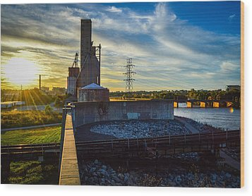 Sunset At The Flood Wall Wood Print