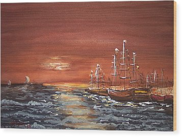 Sunset At The Harbor Wood Print by Miroslaw  Chelchowski