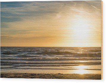 Wood Print featuring the photograph sunset at the North Sea by Hannes Cmarits