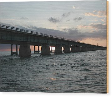 Wood Print featuring the photograph Sunset At The Seven Mile Bridge by Nancy Taylor
