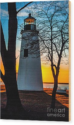 Wood Print featuring the photograph Sunset At Turkey Point Lighthouse by Nick Zelinsky