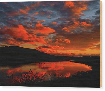 Sunset At Wallkill River National Wildlife Refuge Wood Print