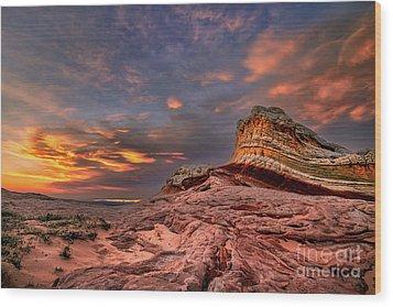 Sunset At White Pocket Wood Print
