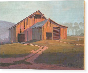 Sunset Barn Wood Print by Michael Humphries