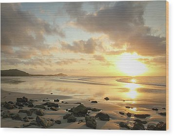 Sunset Beach Delight Wood Print