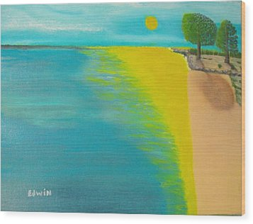 Sunset Beach Wood Print by Edwin Long