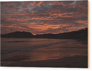 Wood Print featuring the photograph Sunset Beach by Jim Walls PhotoArtist