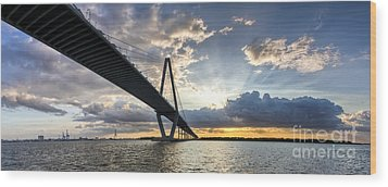 Sunset Behind Arthur Ravenel Jr Bridge Charleston South Carolina Wood Print by Dustin K Ryan