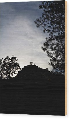 Sunset Behind The Hill Wood Print by Charlie Osborn