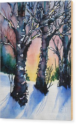 Sunset Birches On The Rise Wood Print by Kathy Braud