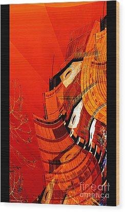 Sunset Building Wood Print