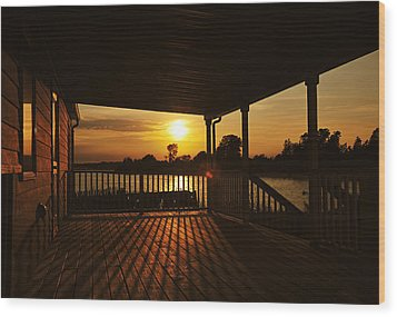Wood Print featuring the photograph Sunset By The Beach by Angel Cher