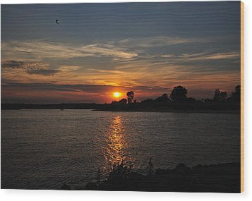 Wood Print featuring the photograph Sunset By The Inlet by Angel Cher