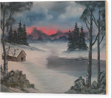 Sunset By The Lake Wood Print by Larry Hamilton
