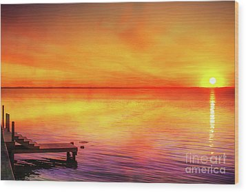 Wood Print featuring the digital art Sunset By The Shore by Randy Steele