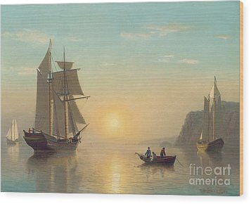Sunset Calm In The Bay Of Fundy Wood Print by William Bradford