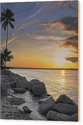 Sunset Caribe Wood Print by Stephen Anderson