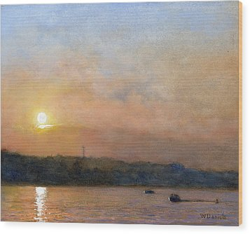 Sunset- Cazenovia Lake Wood Print by Wayne Daniels