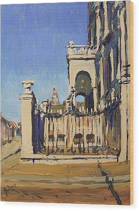 Sunset Cityhall Maastricht Entrance Wood Print by Nop Briex