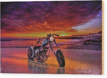 sunset Custom Chopper Wood Print