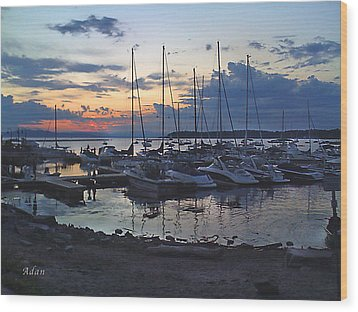Sunset Dock Wood Print by Felipe Adan Lerma
