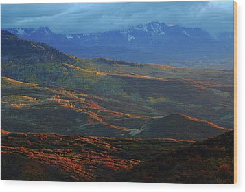 Wood Print featuring the photograph Sunset During Autumn Below The San Juan Mountains In Colorado by Jetson Nguyen