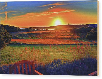 Sunset Eat Fire Spring Rd Nantucket Ma 02554 Large Format Artwork Wood Print by Duncan Pearson
