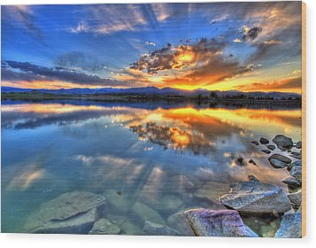 Sunset Explosion Wood Print by Scott Mahon