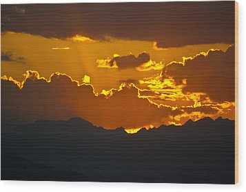 Sunset Fire Wood Print by Colleen Coccia